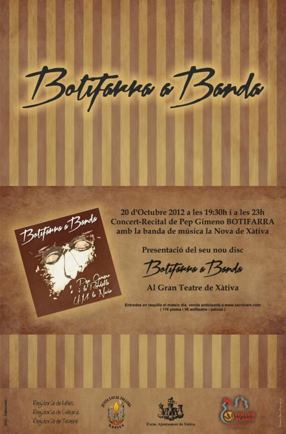 Concert de pep gimeno botifarra a banda al gran teatre for Pisos xativa 9 d octubre xativa